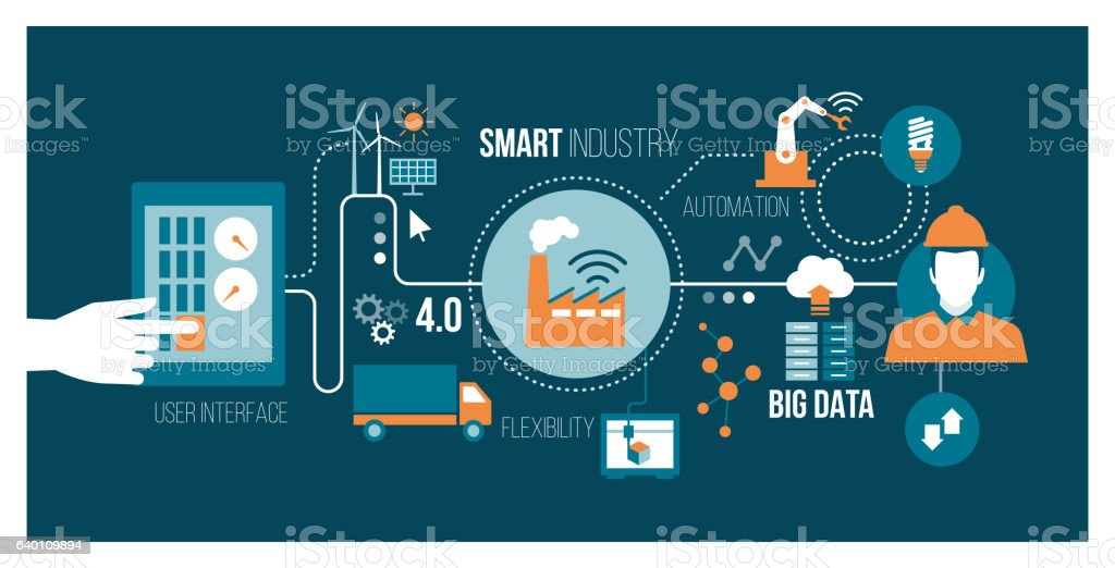 Smart industry vector art illustration