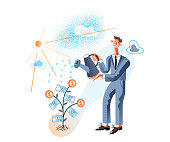 Smart investment flat vector illustration. Smiling businessman watering money tree cartoon character. Happy entrepreneur in formal wear. Successful investor, startup, business idea