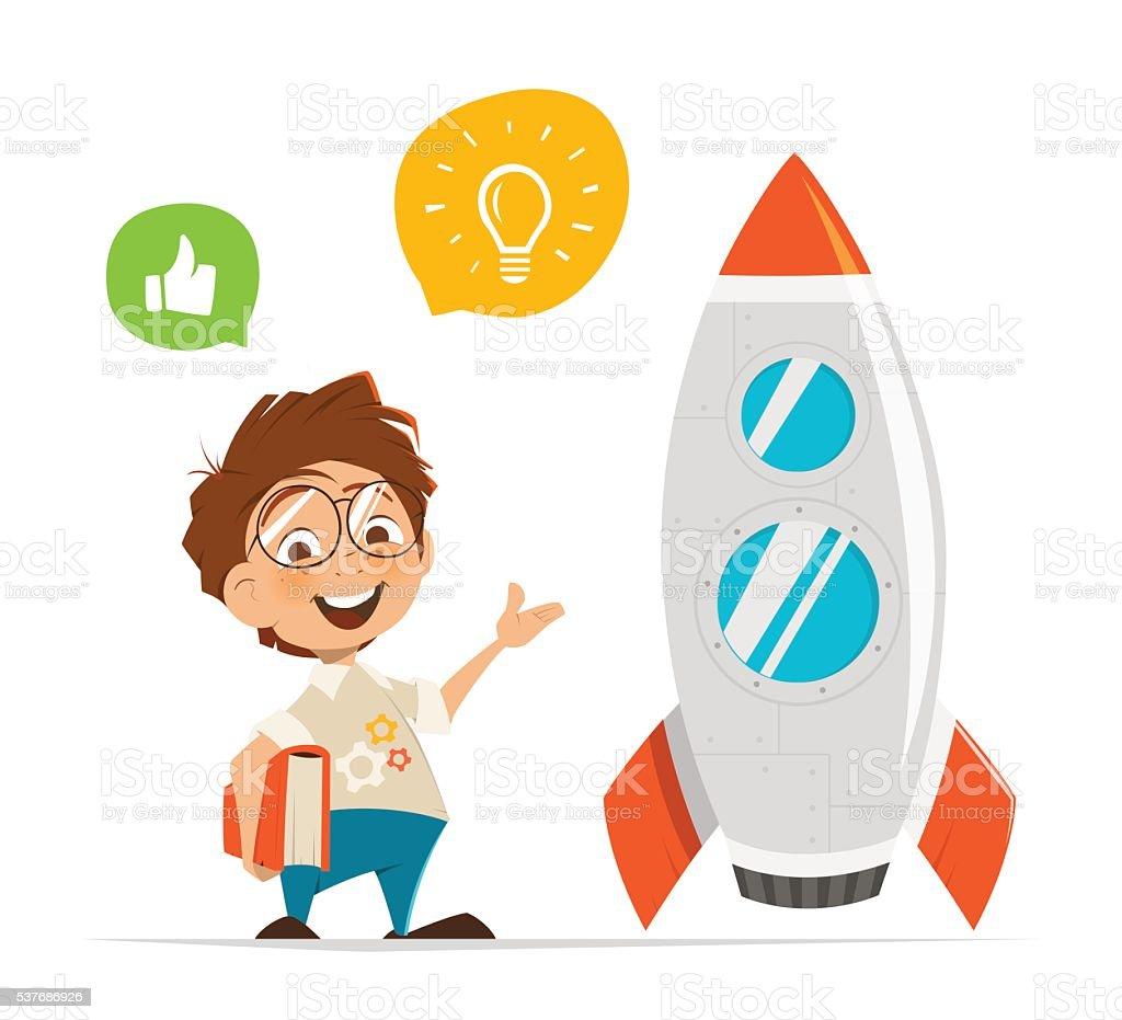 Smart kid inventor and rocket vector art illustration