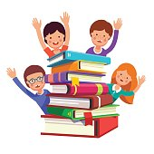 Smart kids waving hands from the book pile