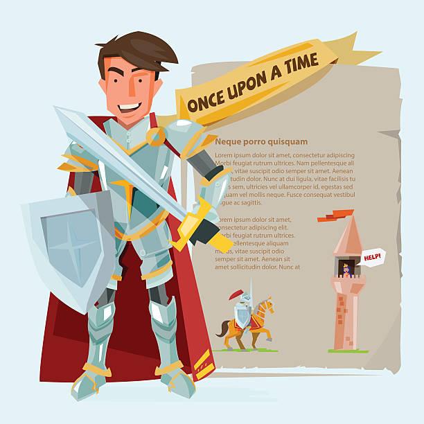 intelligente ritter charakter gestaltung mit kampf gegen uv-strahlung schützt und swordin. - prince stock-grafiken, -clipart, -cartoons und -symbole