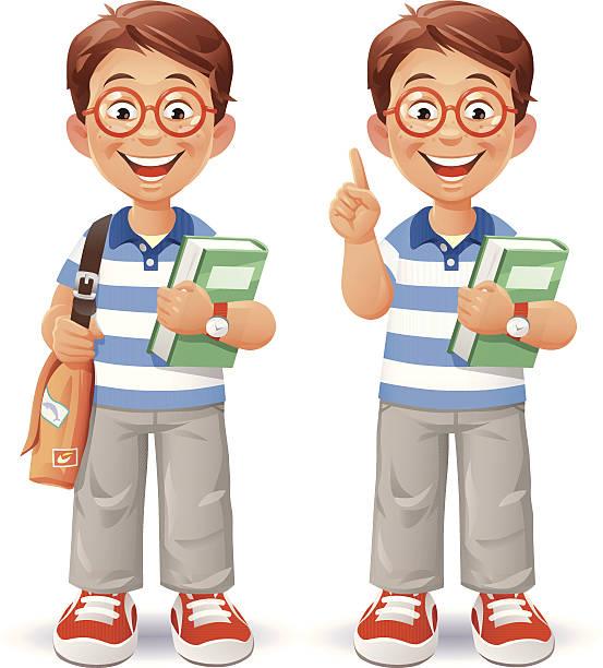 smart little boy - redhead stock illustrations