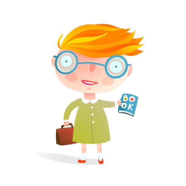 intelligente kleine schulmädchen, die das tragen einer brille mit buch - puppenkurse stock-grafiken, -clipart, -cartoons und -symbole