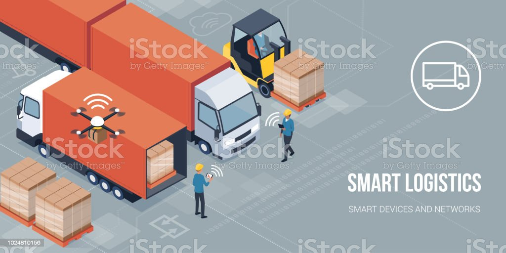 Intelligente Logistik und Produkt Lieferung - Lizenzfrei Arbeiter Vektorgrafik