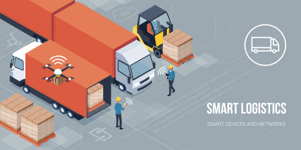 illustrazioni stock, clip art, cartoni animati e icone di tendenza di smart logistics and product delivery - logistica