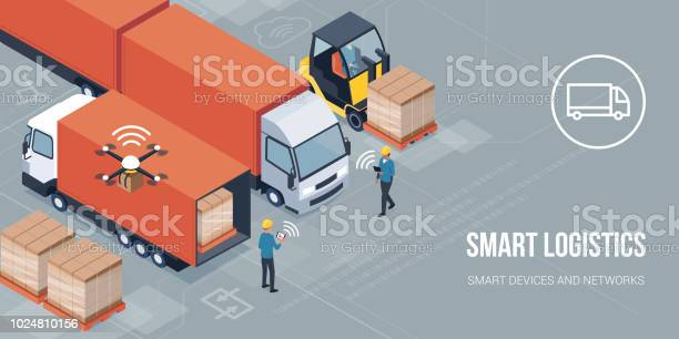 Intelligente Logistik Und Produkt Lieferung Stock Vektor Art und mehr Bilder von Arbeiter