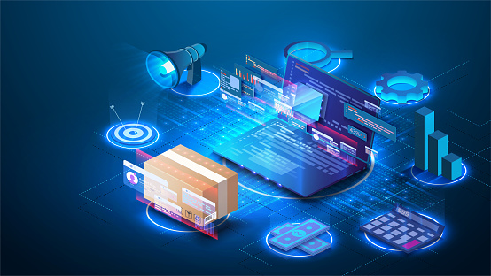 Smart logistics industry 4.0. Inventory optimization isometric  Asset warehouse and inventory management supply chain technology concept. Auditing of data, digital technology. Web banner template