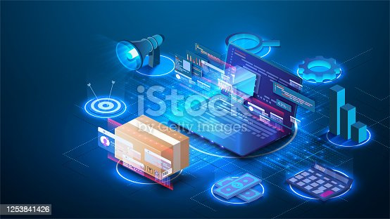 istock Smart logistics industry 4.0. Inventory optimization isometric  Asset warehouse and inventory management supply chain technology concept. Auditing of data, digital technology. Web banner template 1253841426