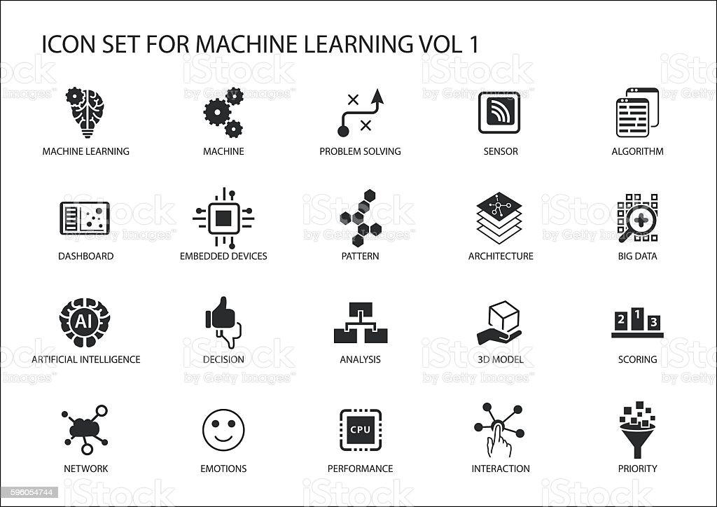 Smart machine learning vector icon set smart machine learning vector icon set vecteurs libres de droits et plus d'images vectorielles de abstrait libre de droits