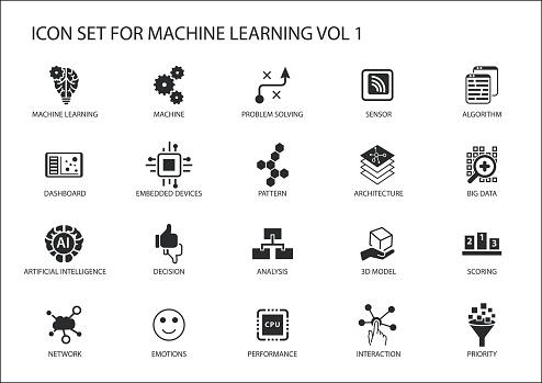 Smart Machine Learning Vector Icon Set Vecteurs libres de droits et plus d'images vectorielles de Abstrait