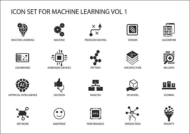smart machine learning vector icon set - machine stock illustrations, clip art, cartoons, & icons