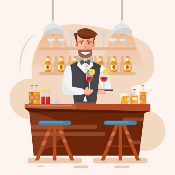 smart man bartender holding cocktail and beverage at a night bar. - bartender stock illustrations