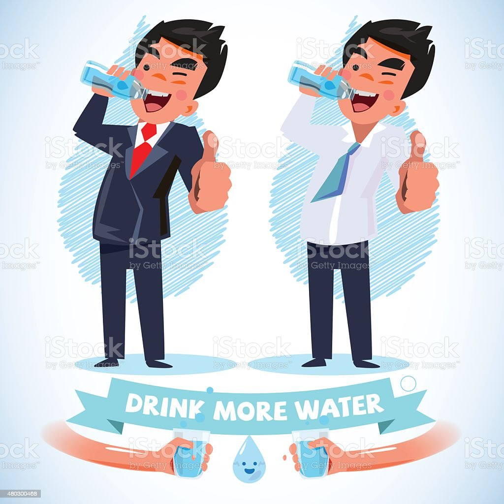 smart man in various action drink water and show thumbup vector art illustration