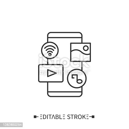 istock Smart media line icon. Editable illustration 1282850254
