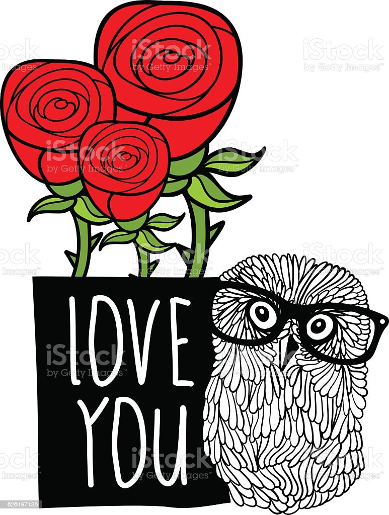 Smart Owl In Love Cover Print Stock Vector Art & More Images of ...