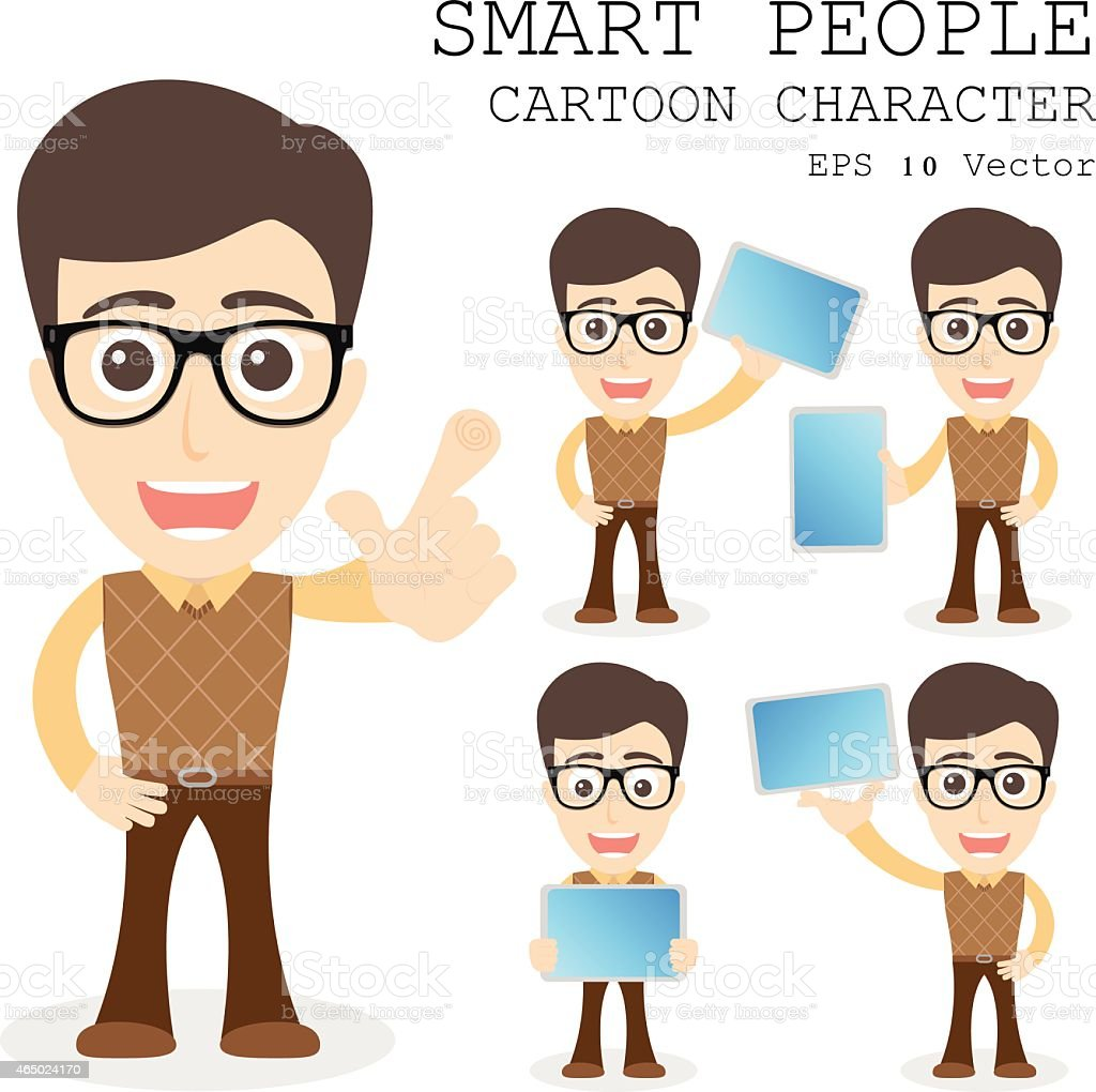 Smart people cartoon character eps 10 vector illustration vector art illustration