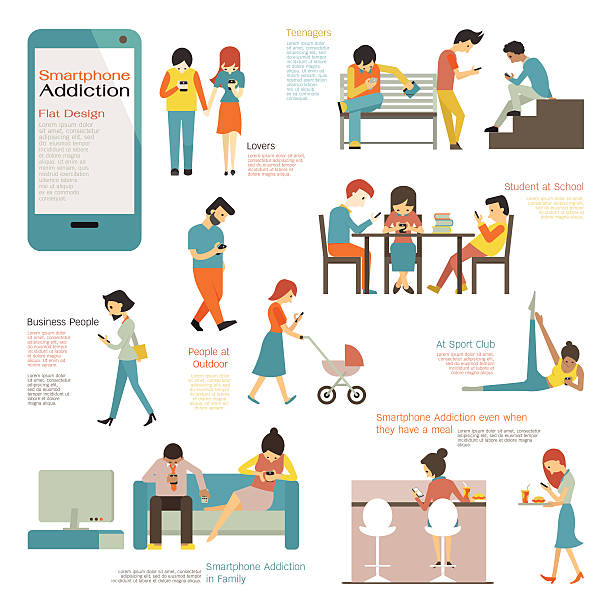 Smart phone addiction Various and diverse people, multi-ethnic, using smart phone in concept of smartphone addiction. Flat design, simple character and easy to use for your purpose. addict stock illustrations