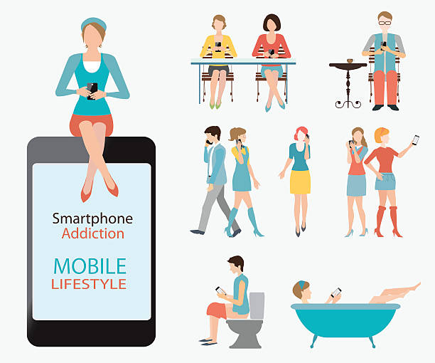 stockillustraties, clipart, cartoons en iconen met smart phone addiction. - cell phone toilet