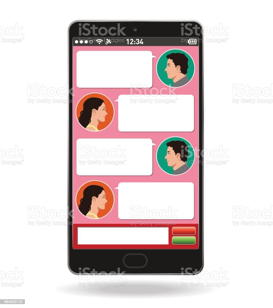 Smart phone and social networking service, Conversations on the Internet, vector illustration vector art illustration