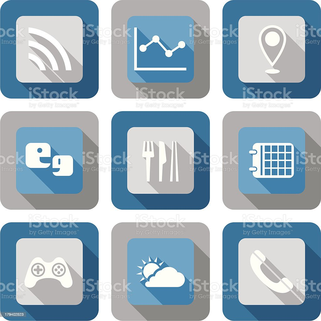 Smart phone application icon set royalty-free stock vector art