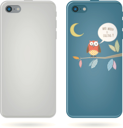 smart phone back view - owl on tree illustration