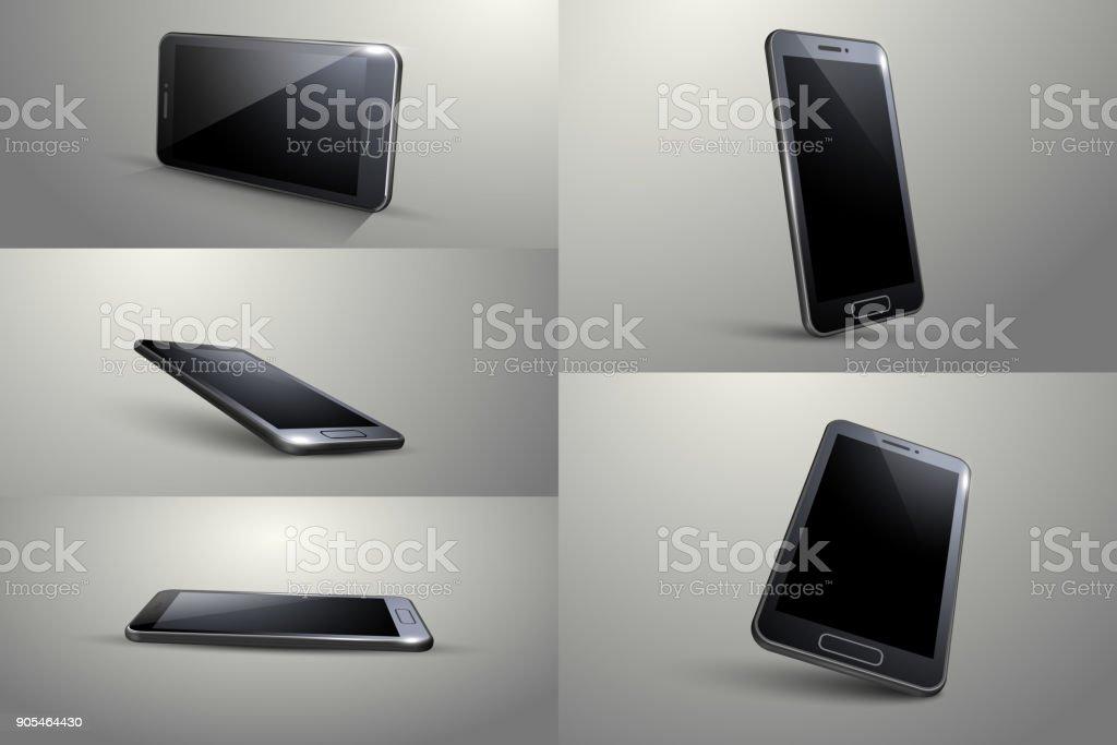 3D Smart phone. Black colour, Different angle. vector art illustration