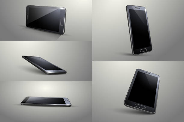 3d smart phone. black colour, different angle. - angle stock illustrations