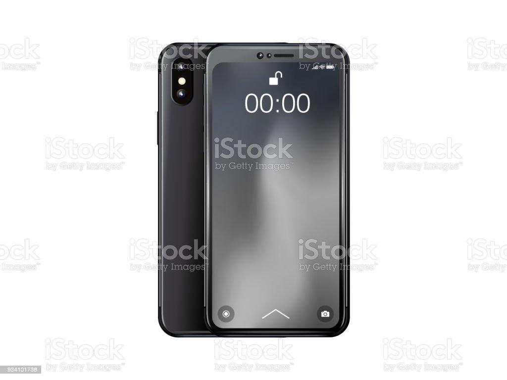 3d Smart Phone Black Colour Front Back Stock Illustration Download Image Now Istock