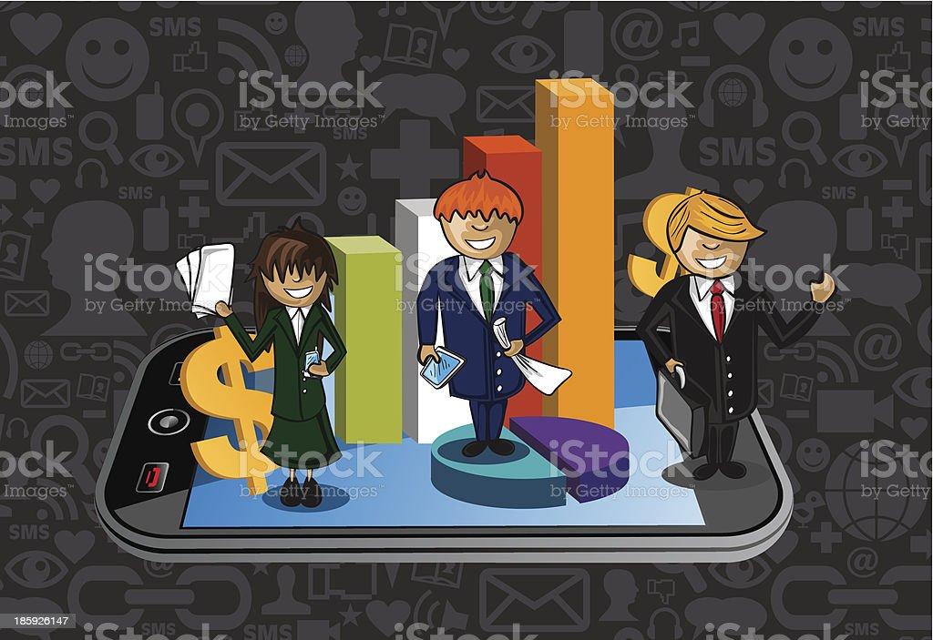 Smart phone business success teamwork illustration vector file. vector art illustration