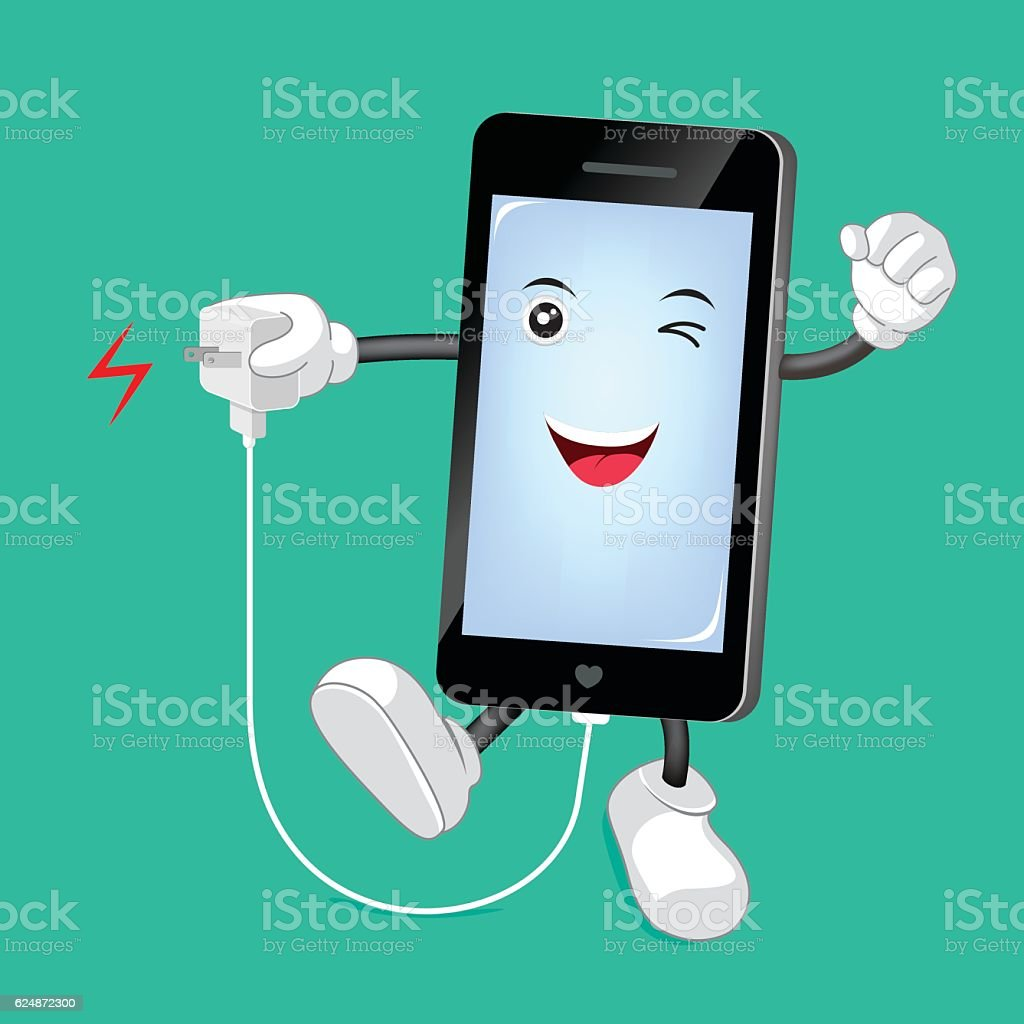 Smart phone Character with mobile phone charger. vector art illustration