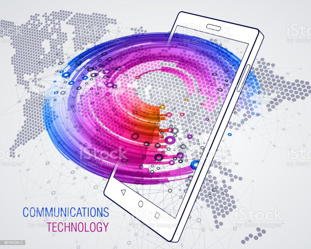 Smart Phone. Communications technology smart phone communications technology – cliparts vectoriels et plus d'images de affaires libre de droits