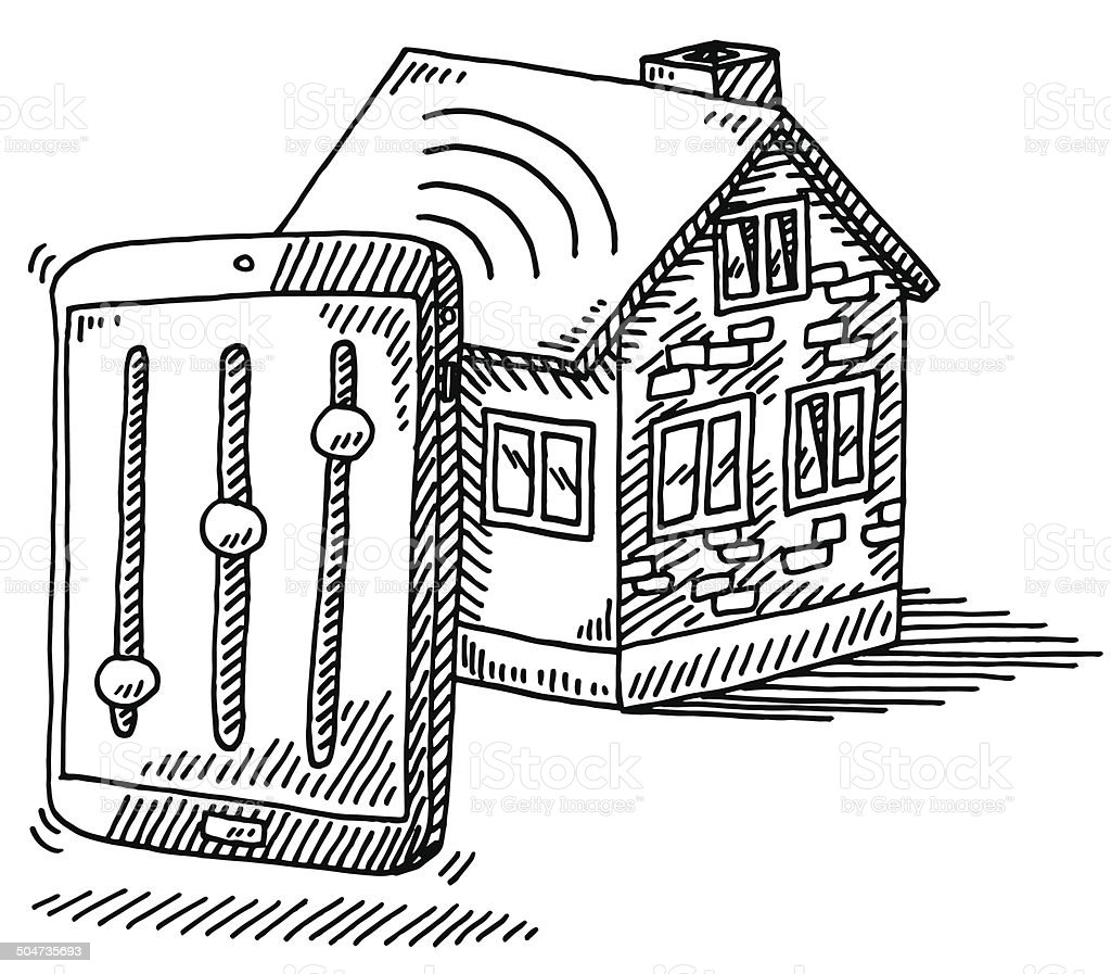 Hand-drawn vector drawing of Controlling the House Technology with a...