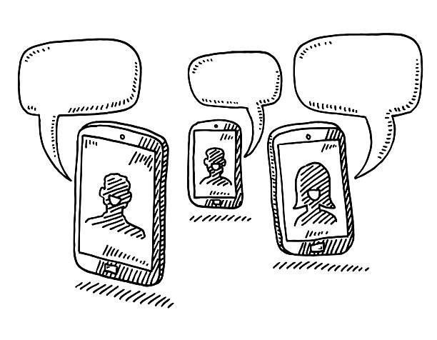 stockillustraties, clipart, cartoons en iconen met smart phone conversation speech bubble drawing - wat