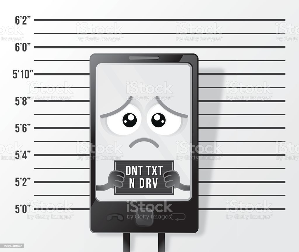 Smart Phone criminal texting and driving mugshot vector art illustration