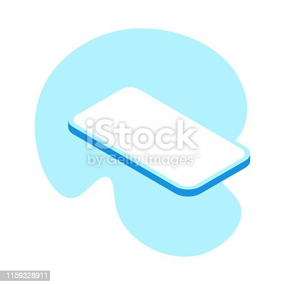Vector illustration of a modern smart phone in isometric projection and flat vibrant colors. Perfect for design projects, social media, business and marketing campaigns.