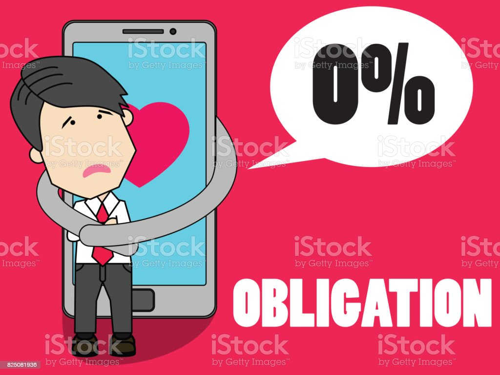 Smart phone do have a firm interest in tugging at businessman vector art illustration