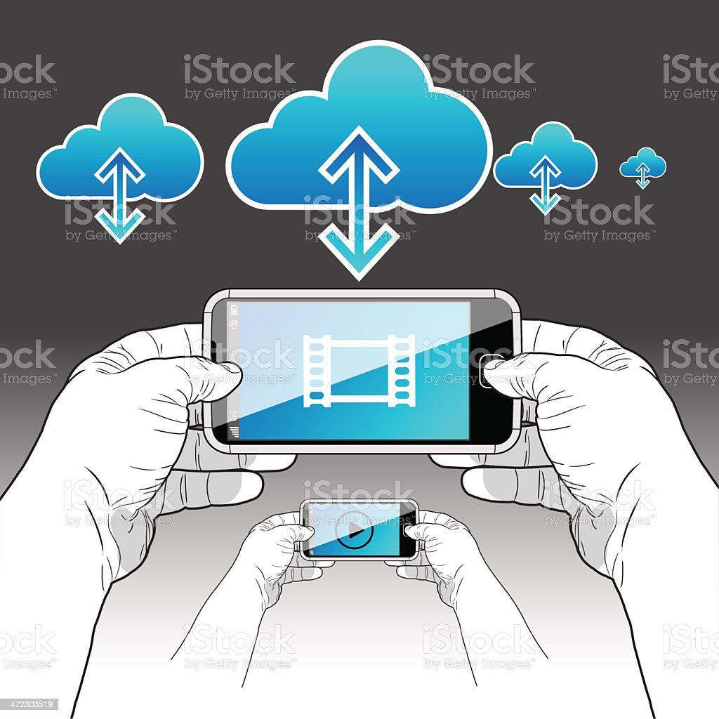 Smart Phone downloading/viewing a video stream royalty-free stock vector art