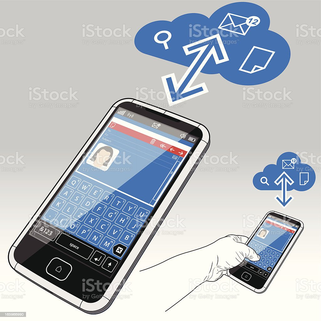Smart Phone, Email and the Data Cloud royalty-free smart phone email and the data cloud stock vector art & more images of 3g