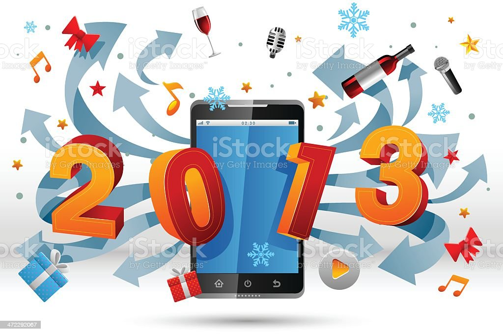 Smart phone for 2013 royalty-free stock vector art