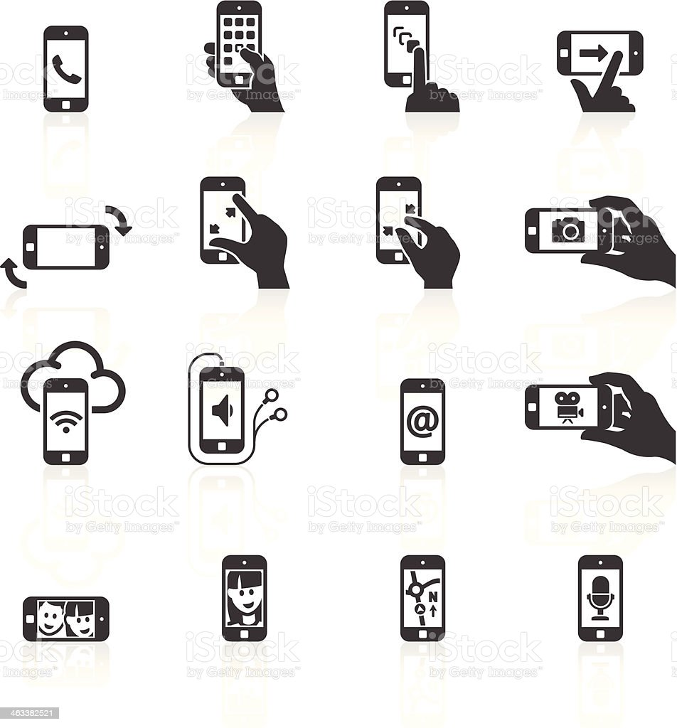 Telefone Inteligente funções & gestos dos ícones - Royalty-free A usar um telefone arte vetorial