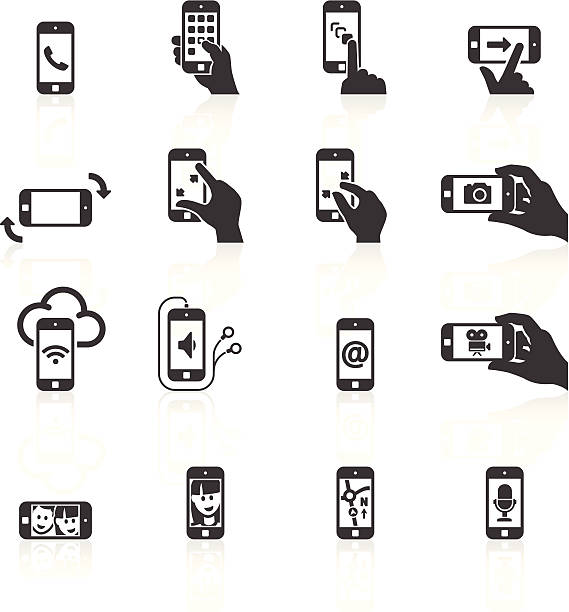 Smart Phone Functions & Gestures Icons vector art illustration