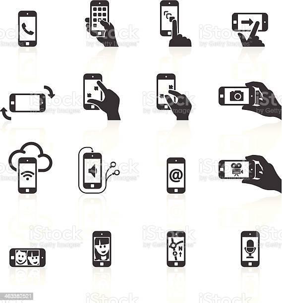 Telefone Inteligente Funções Gestos Dos Ícones - Arte vetorial de stock e mais imagens de A usar um telefone