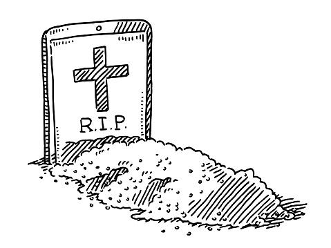 Smart Phone Gravestone Funeral Drawing