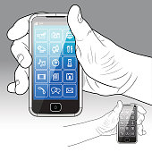 An example Smart (colour & grey-scale.) Phone - Front view, gripped in the left & right hand.