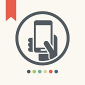 Hand holding mobile phone,smart phone icon,vector illustration.