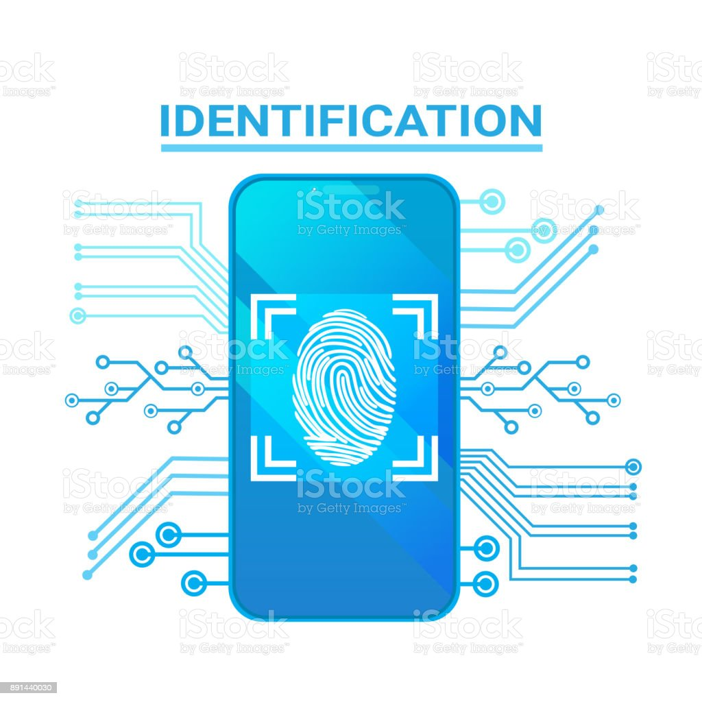 Smart Phone Identification Scanning Fingerprint Modern Access And Security Protection System vector art illustration