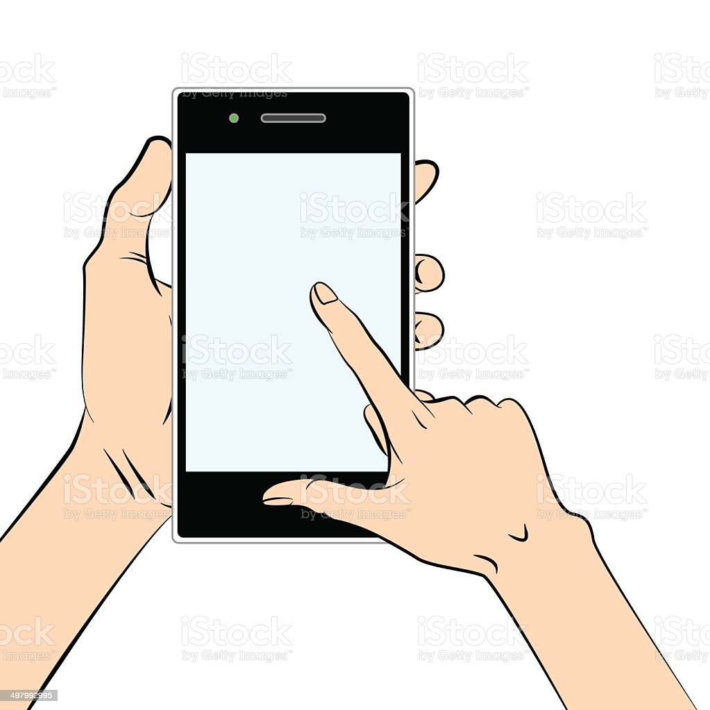 Smart phone in a hand royalty-free stock vector art