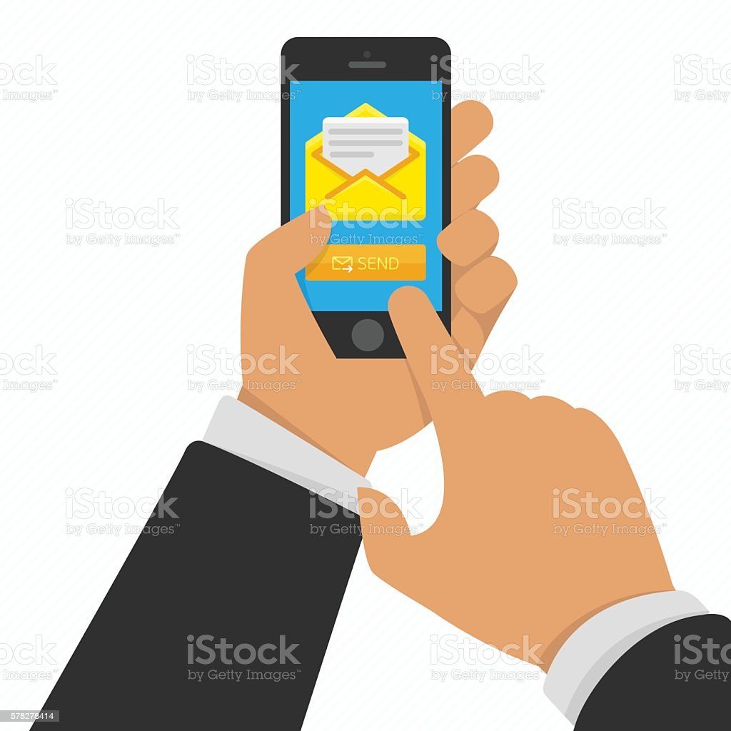 Smart phone in hand with email vector art illustration