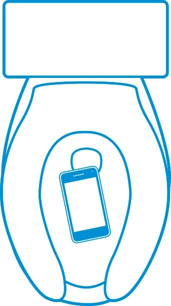 stockillustraties, clipart, cartoons en iconen met slimme telefoon in toilet - cell phone toilet