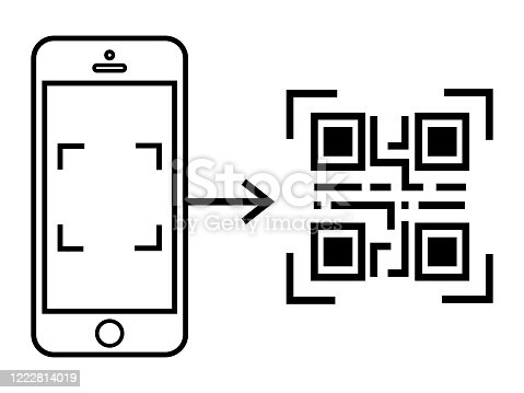 QR Smart Phone scan code. Check the code vector icon. Digital technology, barcode.